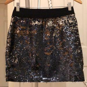 Zara mini skirt with silver reversable sequins